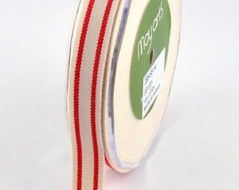 MAY ARTS Ribbon - 1 yard - 5/8 Inch Cotton Blend Ribbon with RED Stripes - Sku: 385-58-14