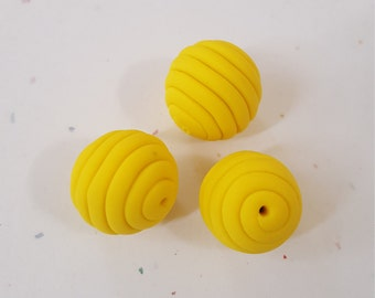 Yellow Round Polymer Clay Coil Beads/ Set Of Three 16mm Handmade Beads/ Jewelry Supplies/ Sculpey Clay Beads