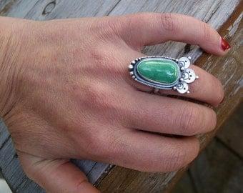 EC...Temple...Sterling silver Variscite ring