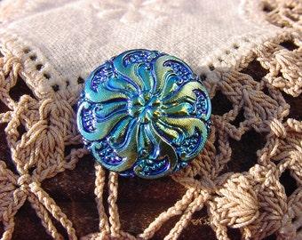 Floral Swirl Czech Glass Button in Metallic Blue Midnight