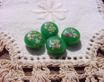 Kelly Green Millefiori Vintage Japanese Glass Beads