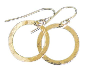 14K Gold Earrings Gold Hoop Circle Drop, Dangle Earrings - Available in Two Sizes