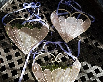 Vintage Heart Shaped Punched Metal Wall Pockets, Set of Three, Shabby Chic