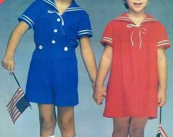 Butterick See & Sew 5256 MIDDY Dress Top Shorts GIRL BOY Size 5 6 6X