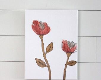 Nursery Art - Coral Roses