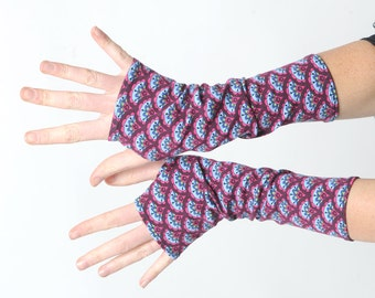 Floral jersey armwarmers, Patterned jersey armwarmers, Long stretchy gloves, Gift for her, Womens accessories, Blue red wrist warmers, MALAM
