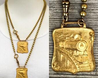 "Railroad Train Necklace Locomotive fob Pocket Watch chain *BULK DISCOUNTS* 20""  26"" Steampunk brass Vintage nos new old stock pendant zz"