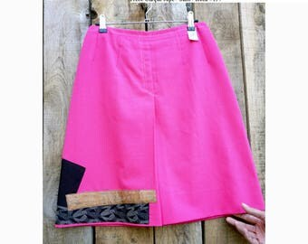 Pink skirt with patchwork appliqué