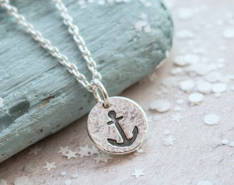 Silver Anchor Necklace, Anchor necklace, nautical necklace, anchor symbol, sailing, maritime, safe journey, travel gift, gift for her
