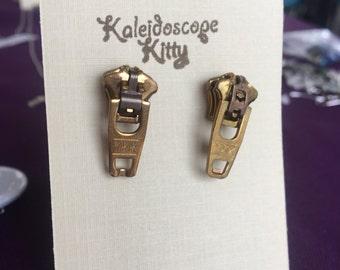 Brass Zipper Pull Earrings