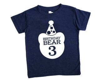 Birthday Bear with Three Triblend Navy TShirt - Third Birthday, Party Outfit, Celebrate, Party Animal, Family Photos, Matching, Bday