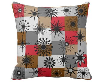 "Time Block Square Throw Pillow in 4 Color Ways - 16"" or 20"" Polyester or Cotton Your Choice with Free US Shipping"