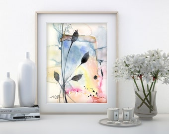 """Abstract leaf Watercolor Painting, Minimalist floral art, plant, nature, blooms, """"Organic Abstract 114"""" by Kathy Morton Stanion EBSQ"""