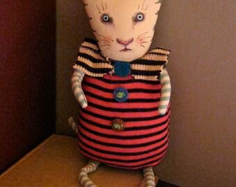 RESERVED for Liz , cat fabric doll, sandy mastroni , cat art doll, lots of stripes , art, wall art, shelf doll,