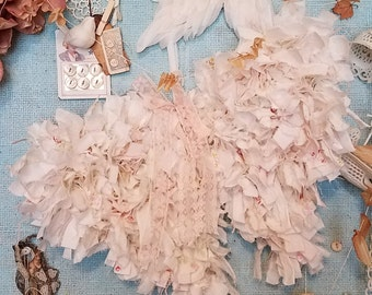 Tattered Angel Wings in Pink - Abandoned Vintage Fabric Shabby Chic Wings