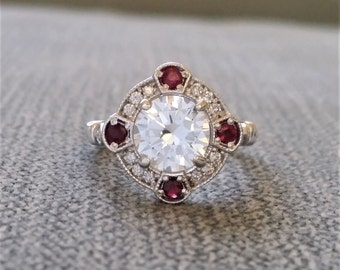 """Estate Halo White Sapphire Red Ruby Diamond Antique Engagement Ring Victorian Art Deco Edwardian 14K Gold """"The Charlotte"""""""