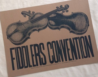 FIDDLERS CONVENTION hand printed letterpress poster kraft paper