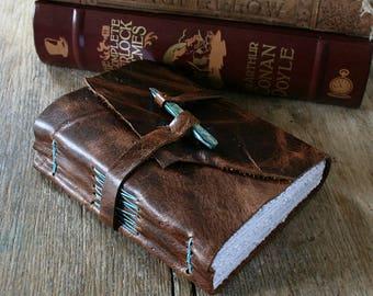 Leather Journal . Handmade Handbound . dark brown with blue shell peg (320 pgs)