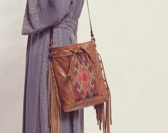 Brown Leather Fringe Bag. Boho Leather Bag. Brown Leather Crossbody Bag. Moroccan Bag. Kilim Bag. Boho Chic Bag.