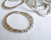 CLEARANCE LOT 15 PCS Silver Plated Large Stamped Oval Rings Links Connectors Mix