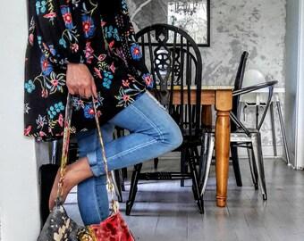 Spring floral boho bag pink velvet crossbody purse