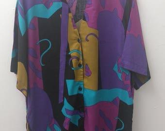 Vintage Size 14 Purple Print Shirt 90s Plus Size