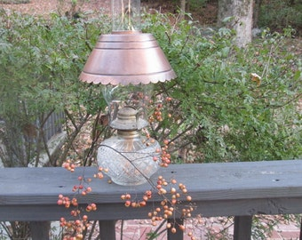 Vintage Tin Lampshade - Small Oil Lamp Lampshade - Copper Finish Shade