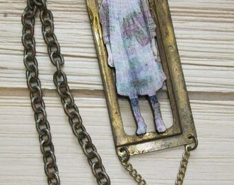 Grisly Gruesome Dead Baby Doll Creepy Insane Noir Art Necklace Goth Gothic Boho Unisex Altered Mixed Media Original OOAK Fierce Gastly Glam