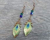 Shimmering Green Peacock Eye Leather Feather Earrings with Faceted Glass and Swarovski Crystal Beads - Boho Chic Drop or Dangle Earrings