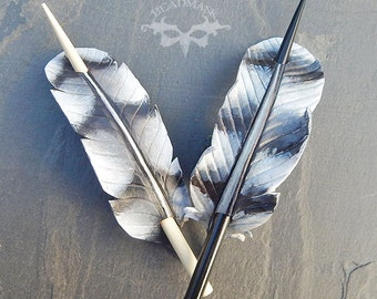 Coopers Hawk Leather Feather Barrette with Wooden Hairstick - Medium Barrette, Hair Slide or Shawl Pin in Black, Gray and White - Grey Hawk