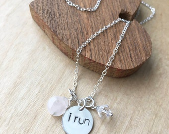 Stamped irun Charm and Bead Necklace - Rose Quartz