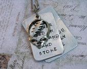 Franklin's Tower Grateful Dead necklace  song lyrics hand-stamped aluminum steal your face layered pendant wildflower seed in the sand and