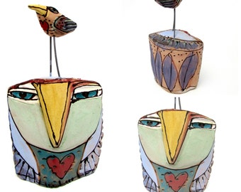 "Owl art, handmade one of a kind ceramic owl art,""Owl Person and the Love Bird Talking"", 5-3/4"" tall"