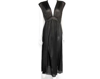Vintage Black Maxi Night Gown // 60s semi sheer Grecian  //Sleeveless Black Nightgown // Size S// 207