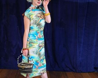 Vintage 1940s Original by Hale Hawaii Tiki Rainbows Rayon Dress - Size Small