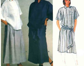 Vintage Perry Ellis Wrap Dress Skirt and Boxy Top Sewing Pattern Vogue American Designer 1521 1980s Sewing Pattern Size 14 Bust 36