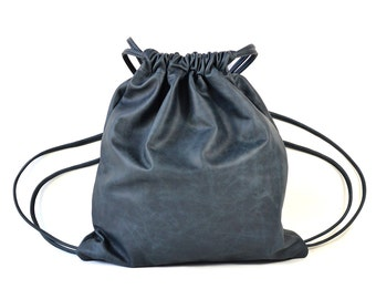 Ella - Handmade Navy Blue Leather Drawstring Backpack Bag