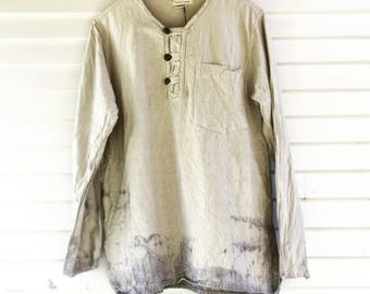 Nomad Tunic - 3 sizes - Unisex Asian Style pullover tunic, handwoven fair trade, dip dyed, low-impact, eco-friendly, pockets. henley, men