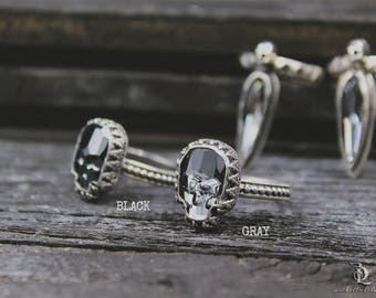Gray Skull Ring Size 9.5 // Swarovski and Sterling Silver ring, by BellaLili, Welded Silversmith