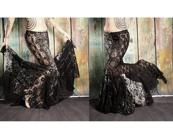 Long Lace Skirt, Black Lace Mermaid style. Sexy Gothic Victorian, flare fitted,Belly Dance, Gothic Steampunk Wedding, Vampire bride skirt