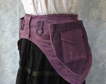 Desert festival utility belt - ready to ship high quality fabric pocket belt - dusty purple fanny pack belt - festival pockets - Extra Small