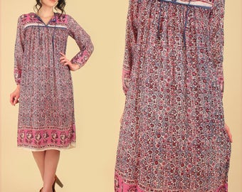 Indian Gauze Cotton Dress ViNtAgE 70's Bohemian India Festival Dress Hippie BoHo Gypsy Silver Metallic Floral Lavender - Pink M L