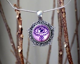 Evil Eye Protection Talisman Glass Dome Hemispherical 3D Cameo Necklace Boho Magical Eye Pendant Purple Gypsy Hippie Pagan Jewelry Gift