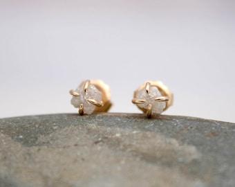 raw diamond earrings, claw set stud earring, 14k gold and diamond stud earring,  Rachel Wilder Handmade Jewelry