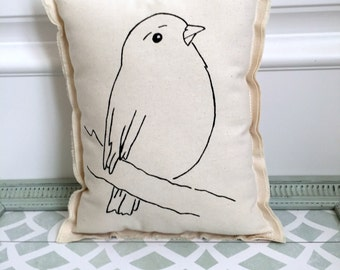 hand painted bird pillow, painted hand drawn bird pillow cushion, natural cotton bird boho urban style simple modern bird pillow -No. 5