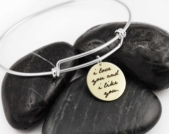 I Love You And I Like You. Adjustable Bangle. Parks and Recreation. Leslie Knope. Ben Wyatt. Gifts for Her. Sterling Silver. Valentines Day.