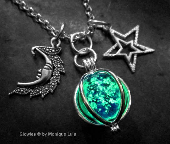 Moon & Stars Glowing Orb Charm Galaxy Glow Glass Necklace