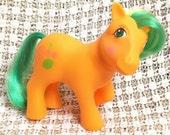 Vintage My Little Pony Tutti Frutti Birthday Pony MLP Rare Earth G1 1984 Orange Yellow Green Hair Fruit Symbols Retro 80s Toy Ponies