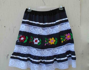 Vintage Early Nineties Repurposed Black and White Mexican Floral Embroidered Skirt / Size Med / Colorful Folk Ethnic