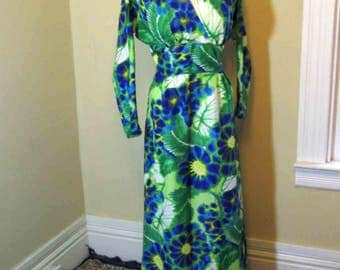 Watercolor Hawaiian Dress 60s Vintage Hawaiian dress blurry Blue, Purple and Green floral dress Empire Tiki maxi dress 60s Polynesia gown M